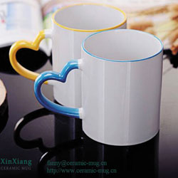 Heart-shaped Color Glazed Ceramic Mugs