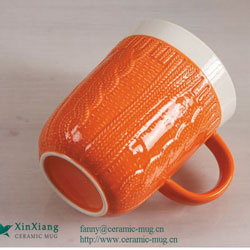 Relief Orange Glazed Ceramic mugs