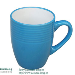 Blue Threaded Color Glazed Ceramic Mugs