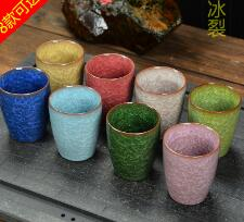 8 kinds of color Kungfu teacups with ice cracked glaze