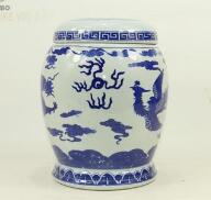 Ceramic double lid urn Blue and white porcelain dragon and Phoenix pot