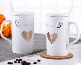 Ceramic cup with cover spoon couple cup